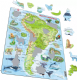 Map of South America, with Animals - Frame/Board Jigsaw Puzzle 29cm x 37cm (LRS  A25-GB)